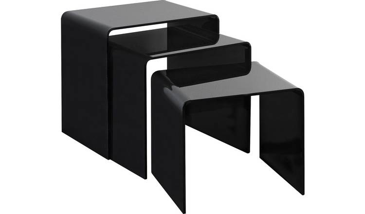 Argos Home Mistral Nest of 3 Tables - Black Acrylic