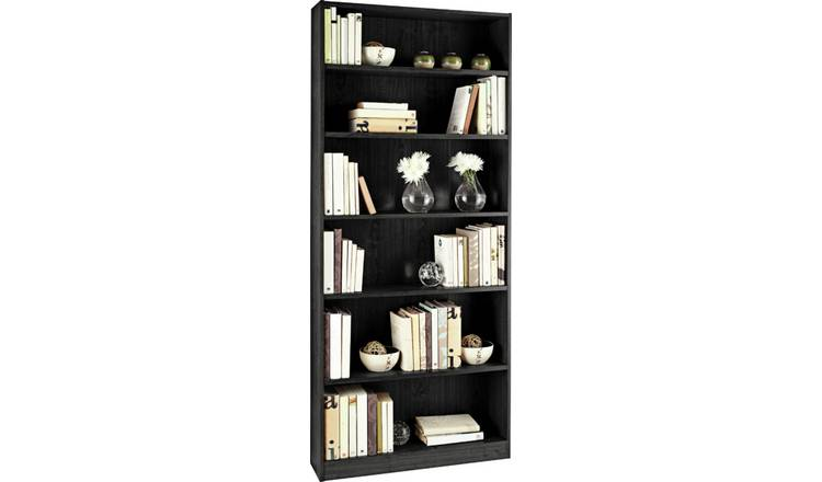 Argos Home Maine 5 Shelf Tall Wide Bookcase - Black