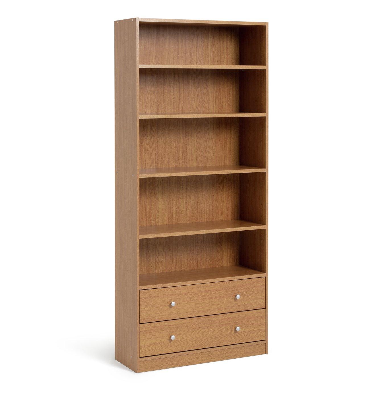 HOME Maine 4 Shelf 2 Drawer Bookcase - Oak Effect
