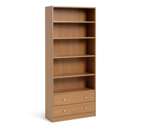 Buy Home Maine 2 Drawer Extra Deep Bookcase Oak Effect At Your Online Shop For