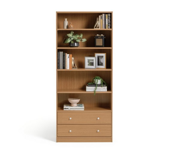 Buy home maine 4 shelf 2 drawer extra deep bookcase oak effect at your online Buy home furniture online uk