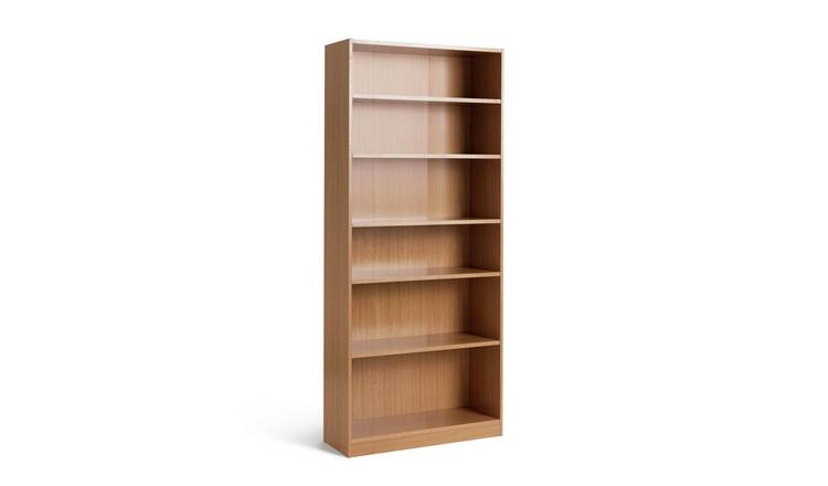Habitat Maine 5 Shelf Wide Deep Bookcase - Oak Effect