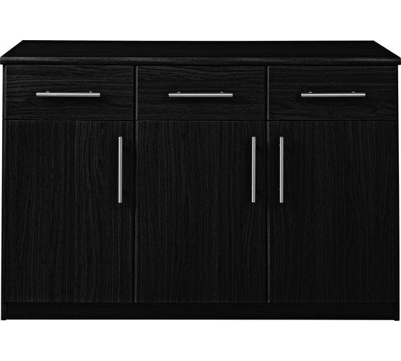 Click to zoom - Buy HOME Anderson 3 Door 3 Drawer Sideboard - Black At Argos.co.uk