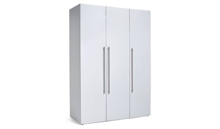 Habitat Atlas 3 Door Wardrobe - White Gloss
