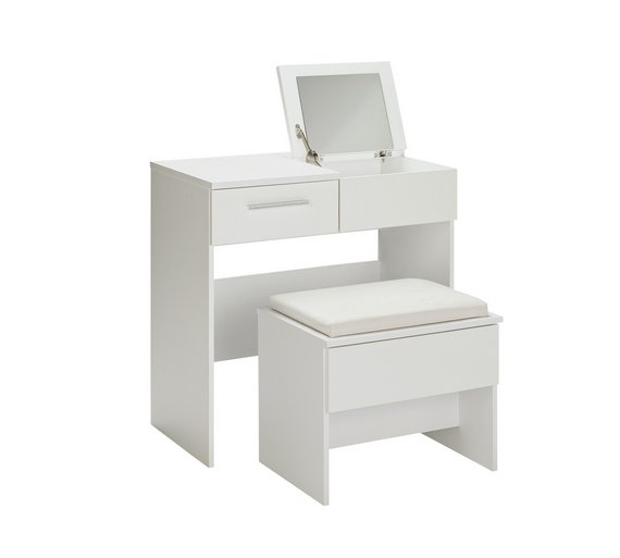 Buy Collection Sparkle Dressing Table Stool Mirror White At - White dressing table argos