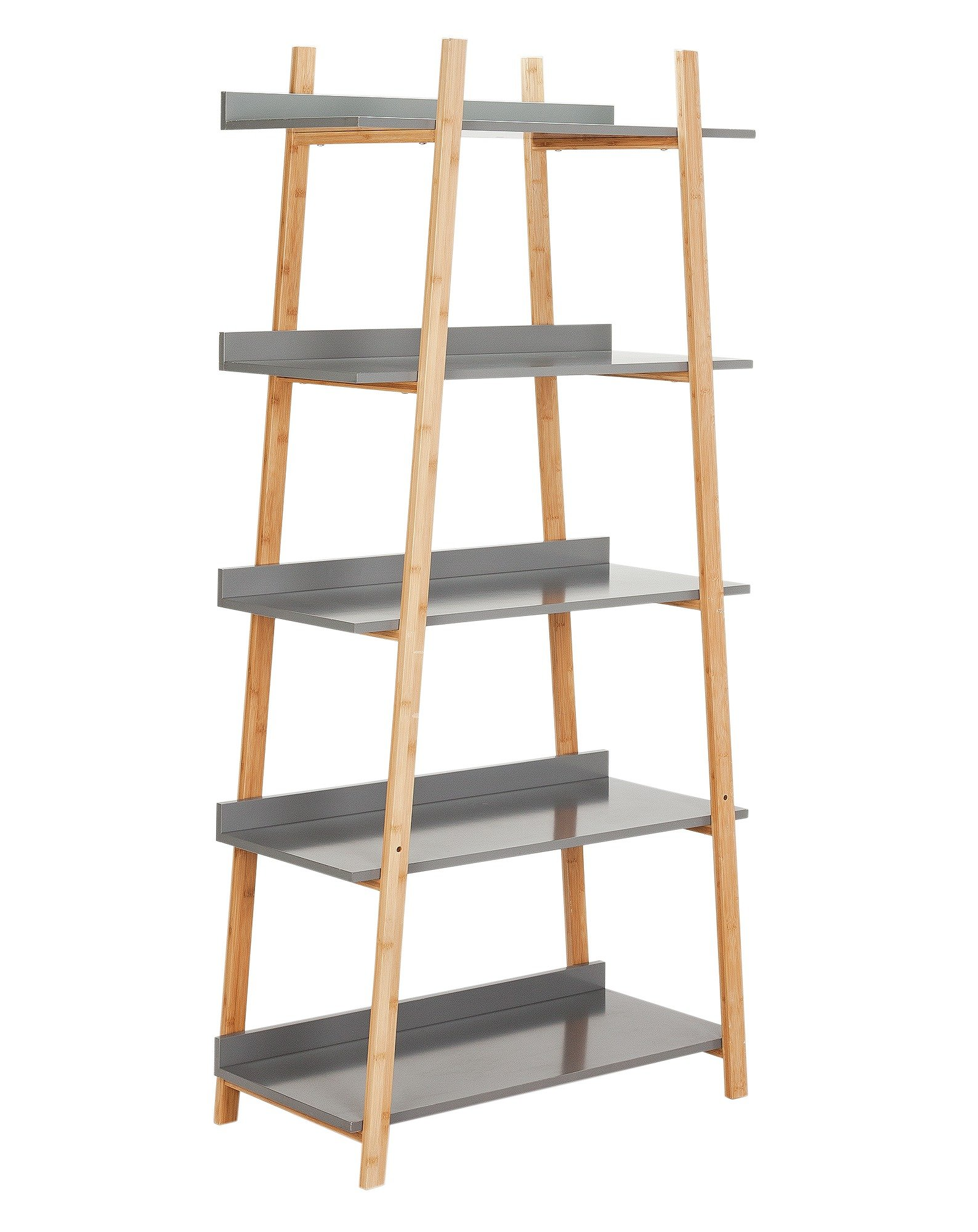 Hygena Skanda 5 Tier Bamboo Shelving Unit - Grey