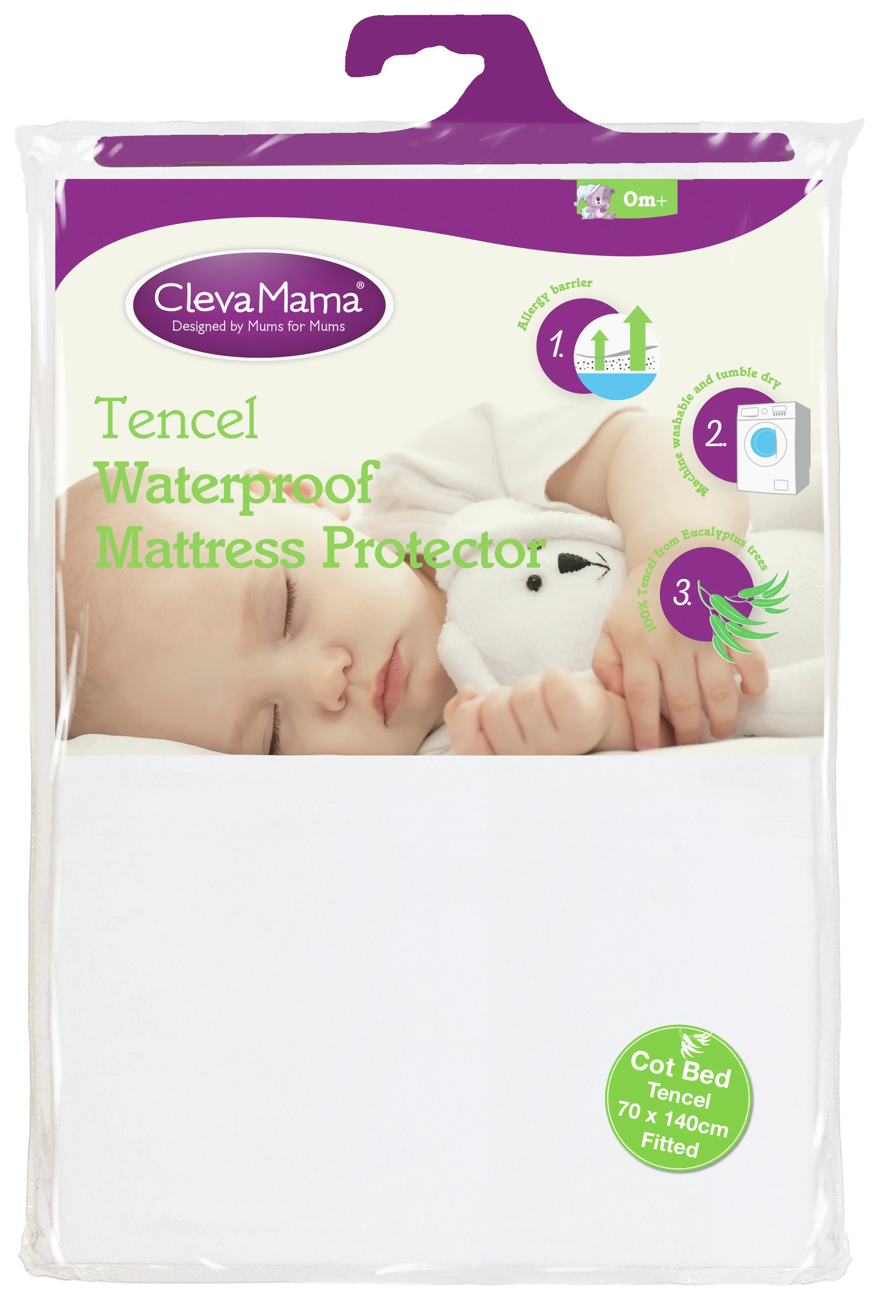 clevamama tencel waterproof mattress protector  cot bed