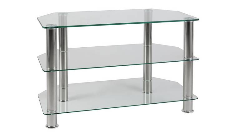 buy online 9763c 1586e Buy Argos Home Matrix Glass Corner TV Unit - Clear & Chrome | TV stands |  Argos