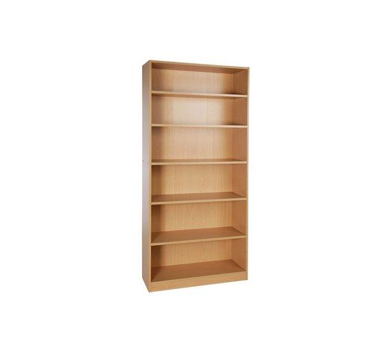argos home maine 5 shelf wide deep bookcase beech effect - Deep Bookshelves