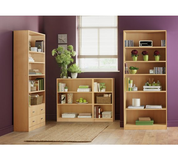 Buy Home Maine 5 Shelf Wide Extra Deep Bookcase Beech