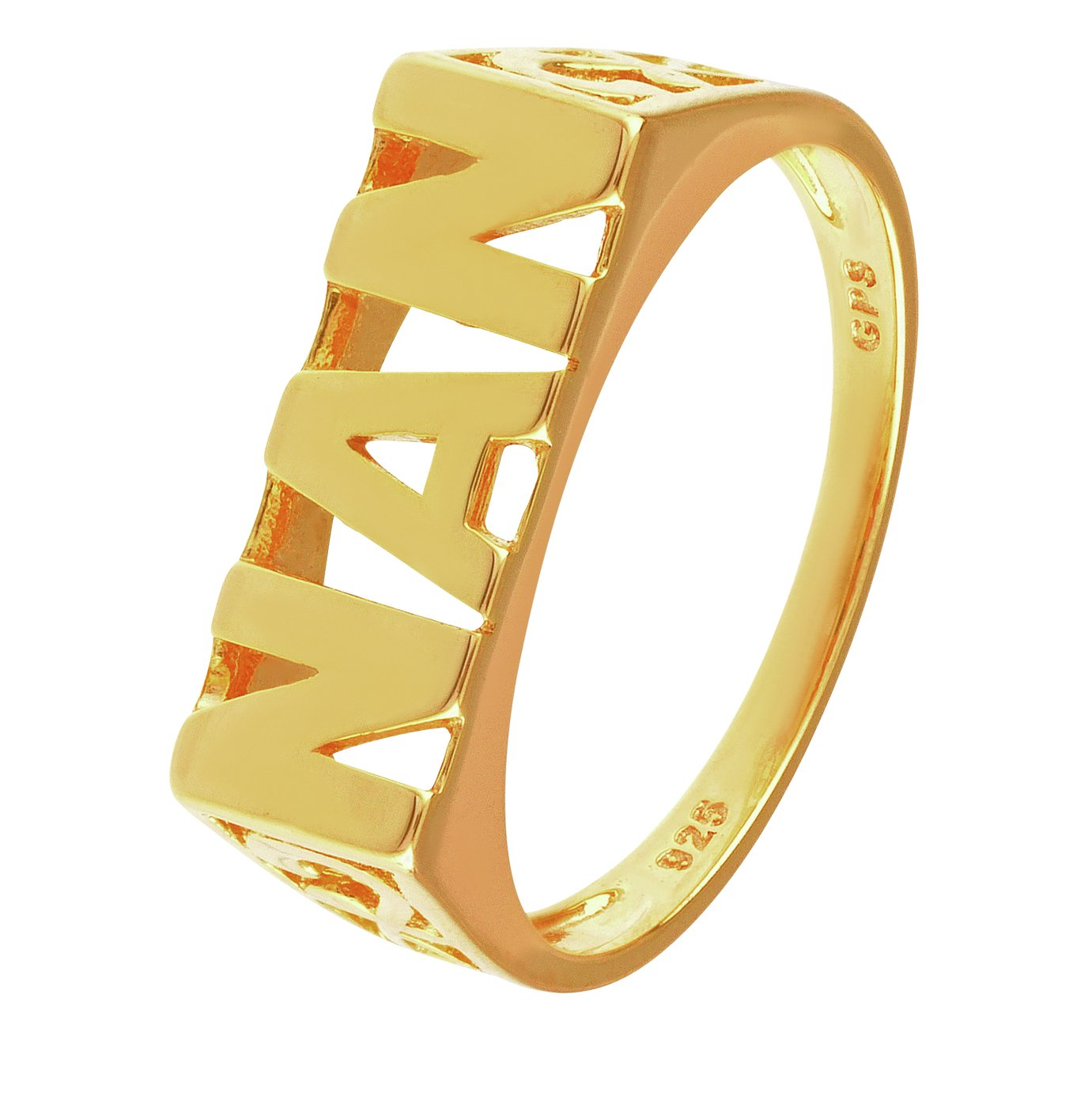 Image of Moon & Back 9ct Gold Plated Sterling Silver Nan Ring