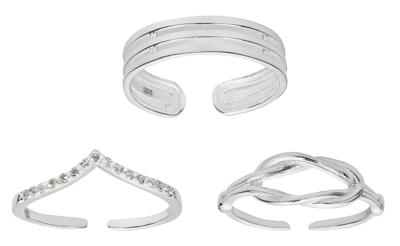 State of Mine Sterling Silver Toe Rings - Set of 3