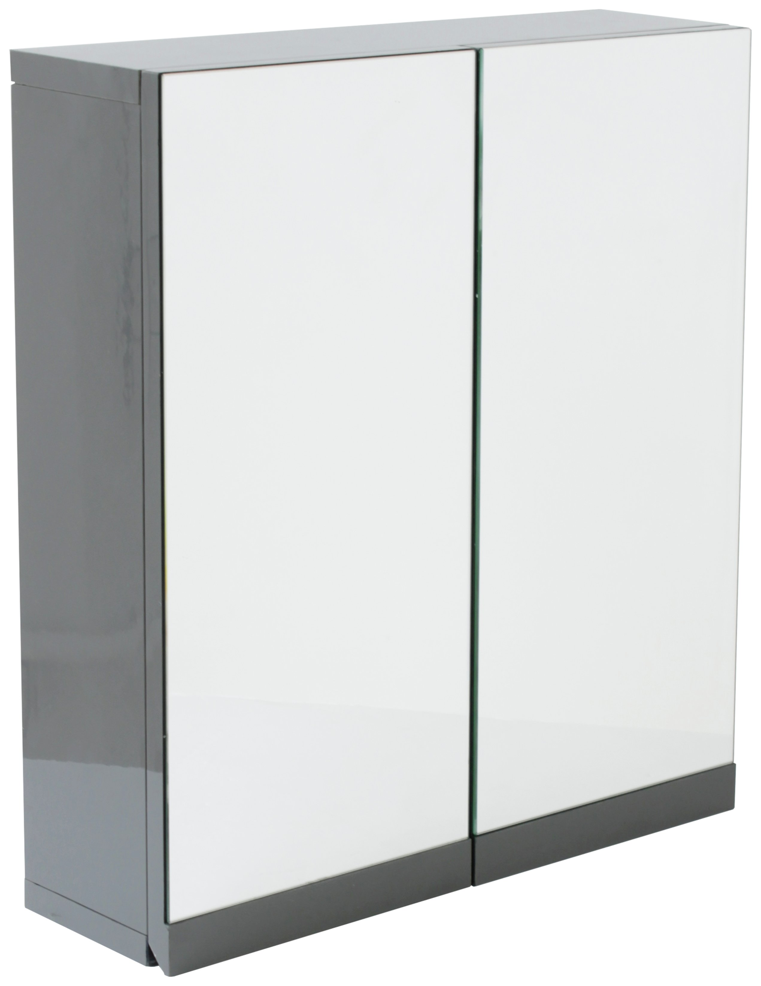 Hygena Gloss Double Door Bathroom Wall Cabinet - Grey at Argos