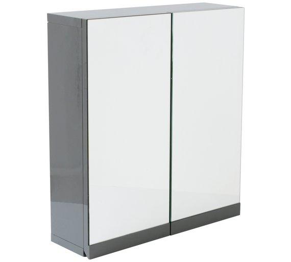 Buy Hygena Gloss Double Door Bathroom Wall Cabinet - Grey at Argos ...