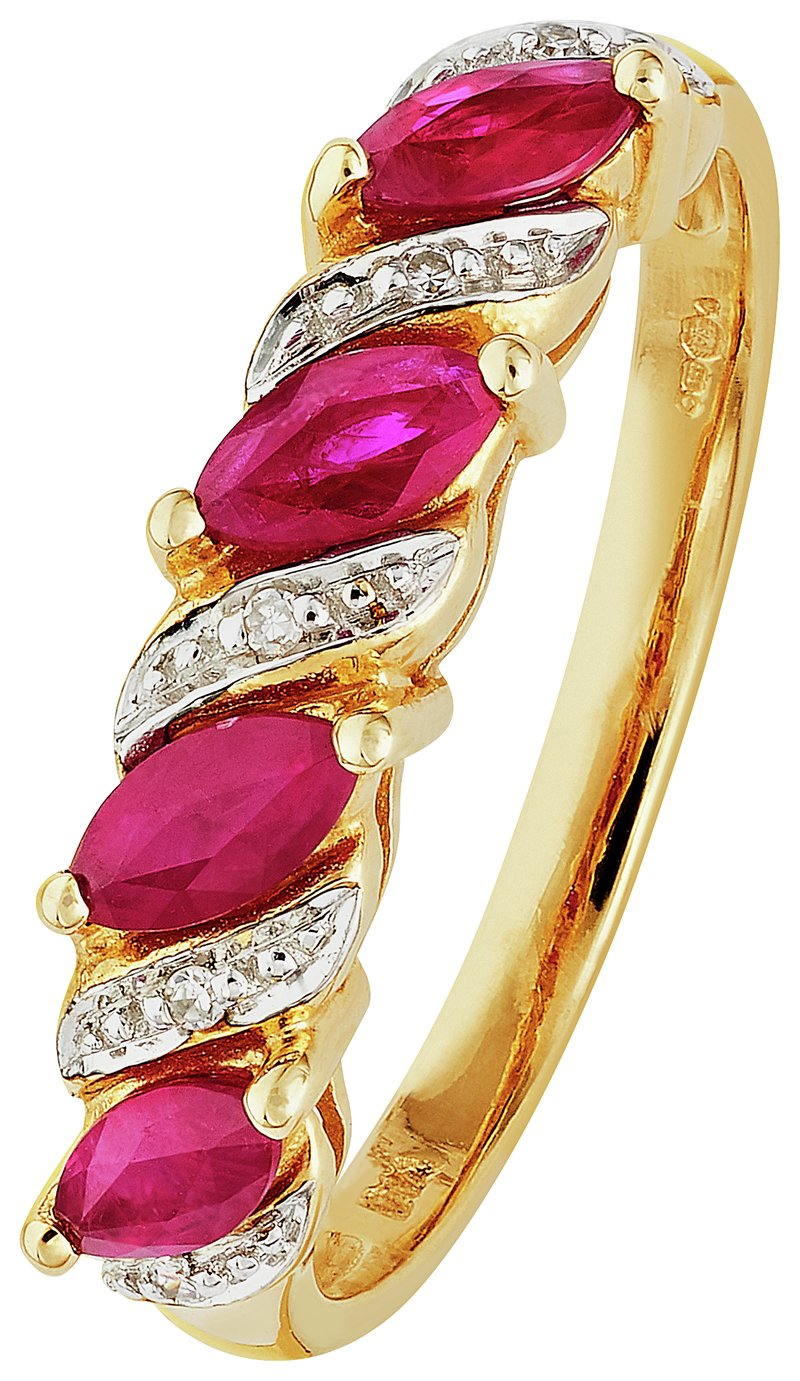 Revere 9ct Yellow Gold Ruby and 0.25ct Diamond Eternity Ring