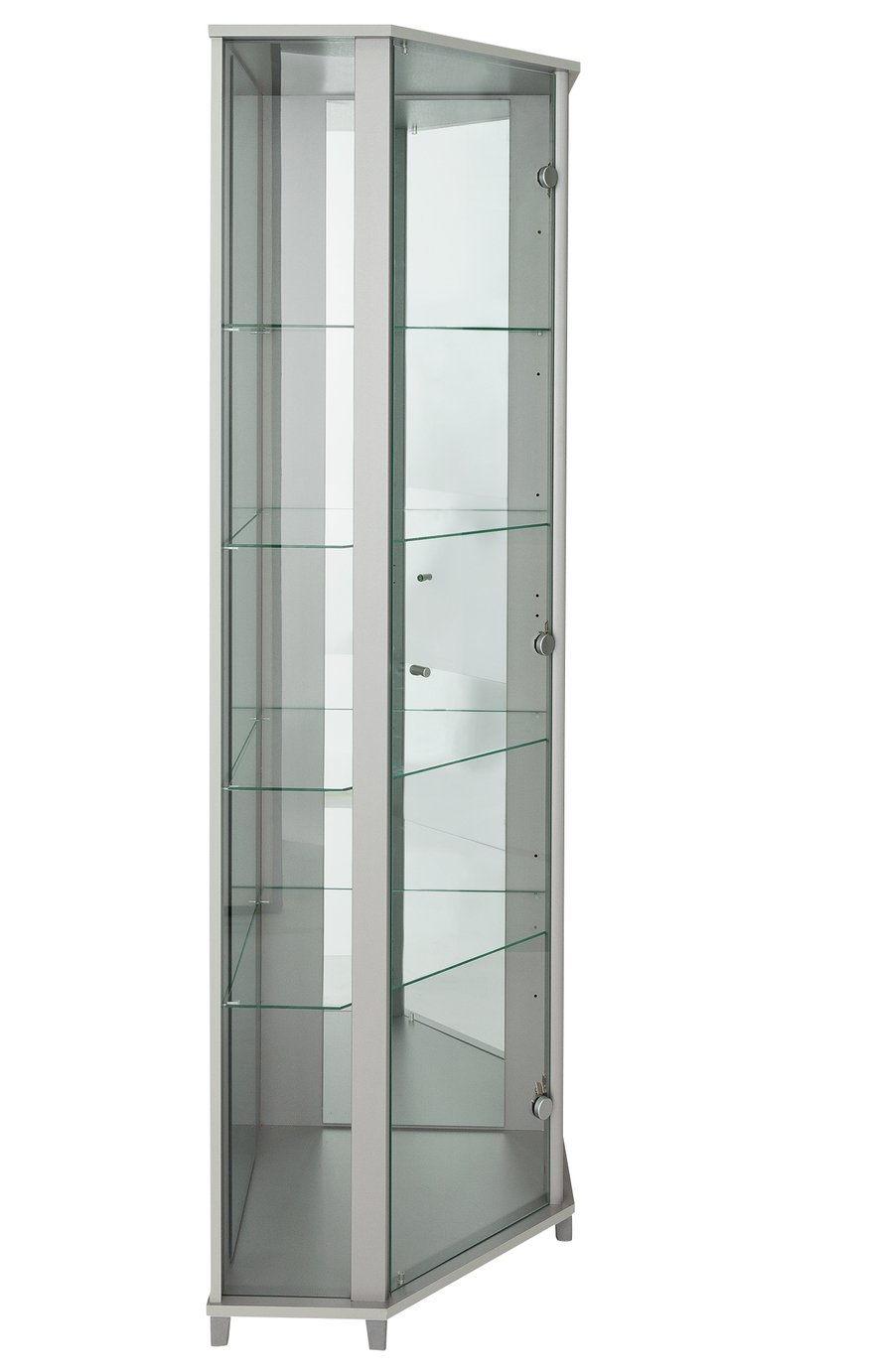 Metal glass cabinet Vitrine Argos Home Glass Dr Corner Display Cabinet Silver Effect Etsy Buy Argos Home Glass Dr Corner Display Cabinet Silver Effect