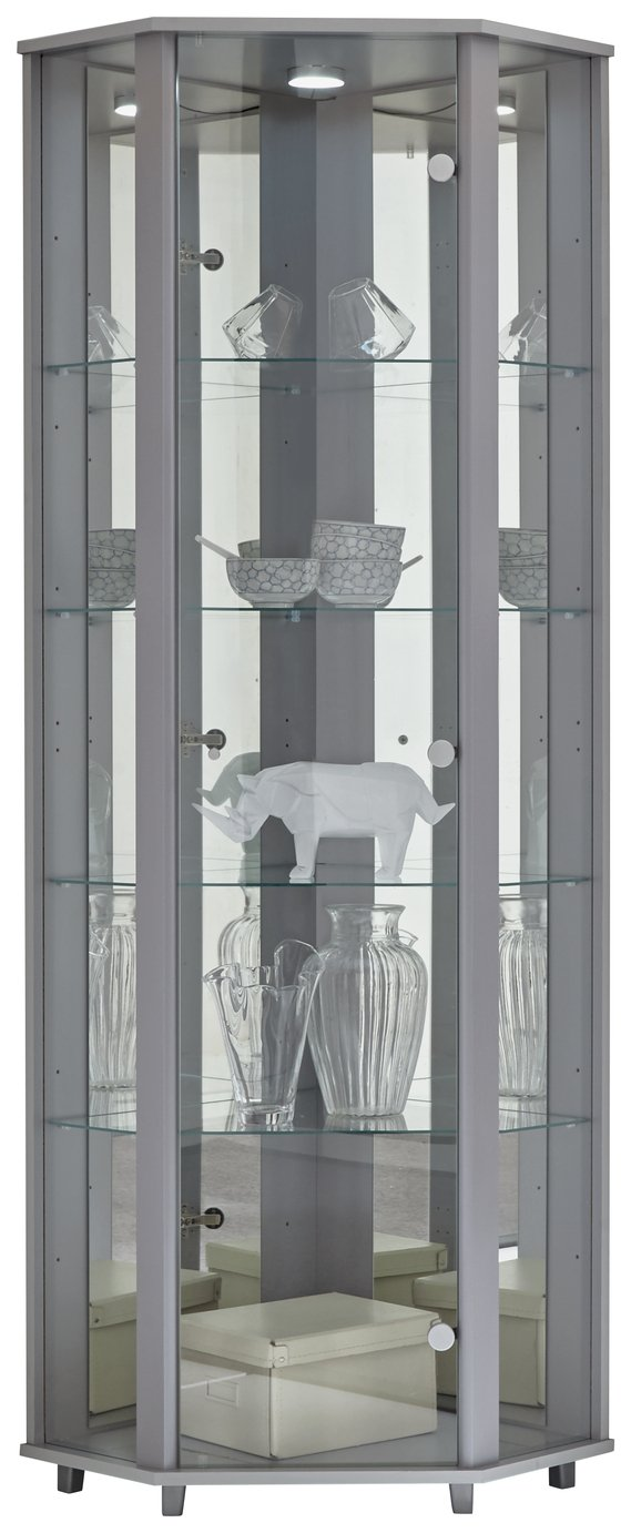 Argos Home 1 Glass Dr Corner Display Cabinet - Silver Effect