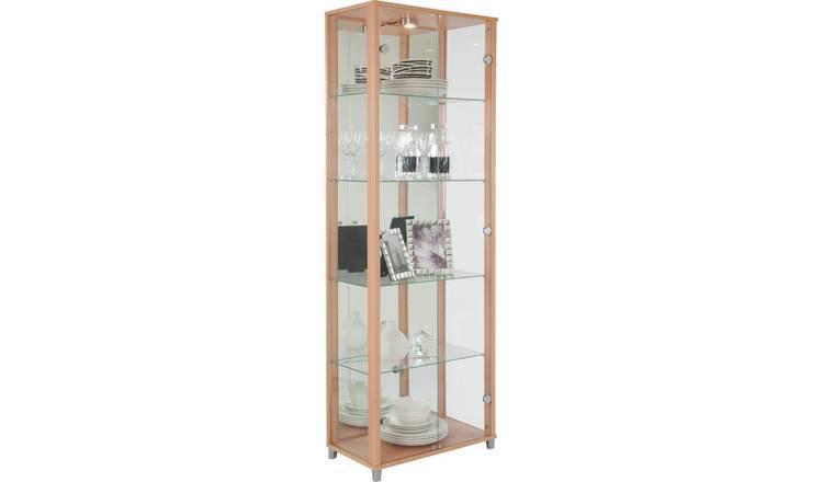 buy argos home 2 door glass display cabinet - beech effect
