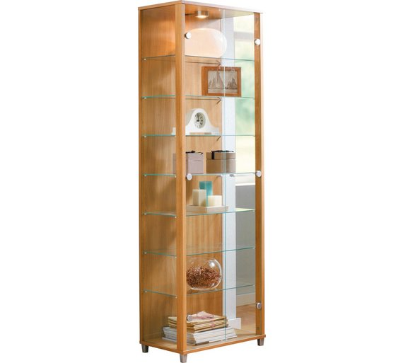 Buy Home 2 Door Glass Display Cabinet Light Oak Effect Display