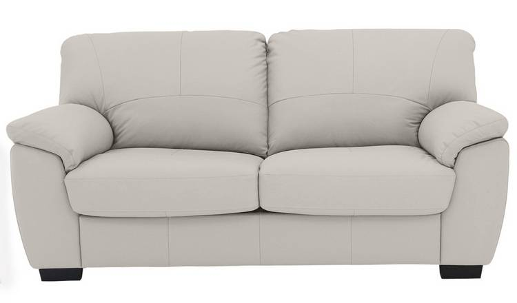 Argos Home Milano 2 Seater Leather Sofa Bed - Light Grey