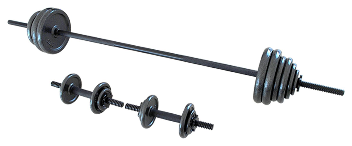 Opti Cast Iron Bar and Dumbbell Set - 50kg