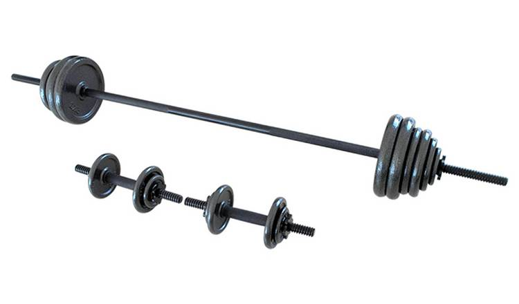 Opti Cast Iron Bar and Dumbbell Set - 48.8kg