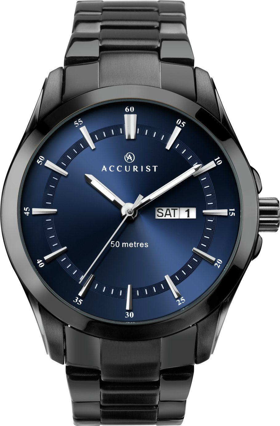 Accurist Men's Black Stainless Steel Bracelet Watch
