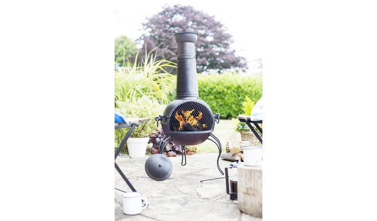 La Hacienda Extra Large Steel Chiminea - Bronze Finish
