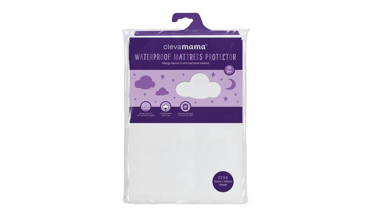 reputable site 7aba2 41ee1 Buy Clevamama Waterproof Mattress Protector Cot Bed 140x70 cm | Nursery  fitted and flat sheets | Argos