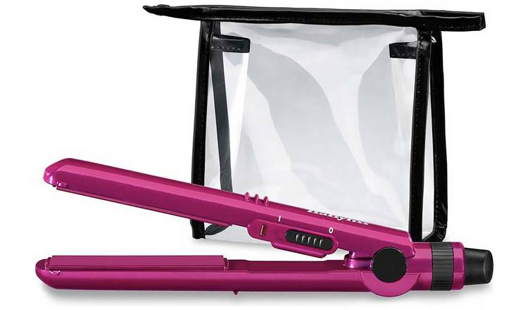 BaByliss 2861BAU Nano Travel Hair Straightener with Bag-Pink