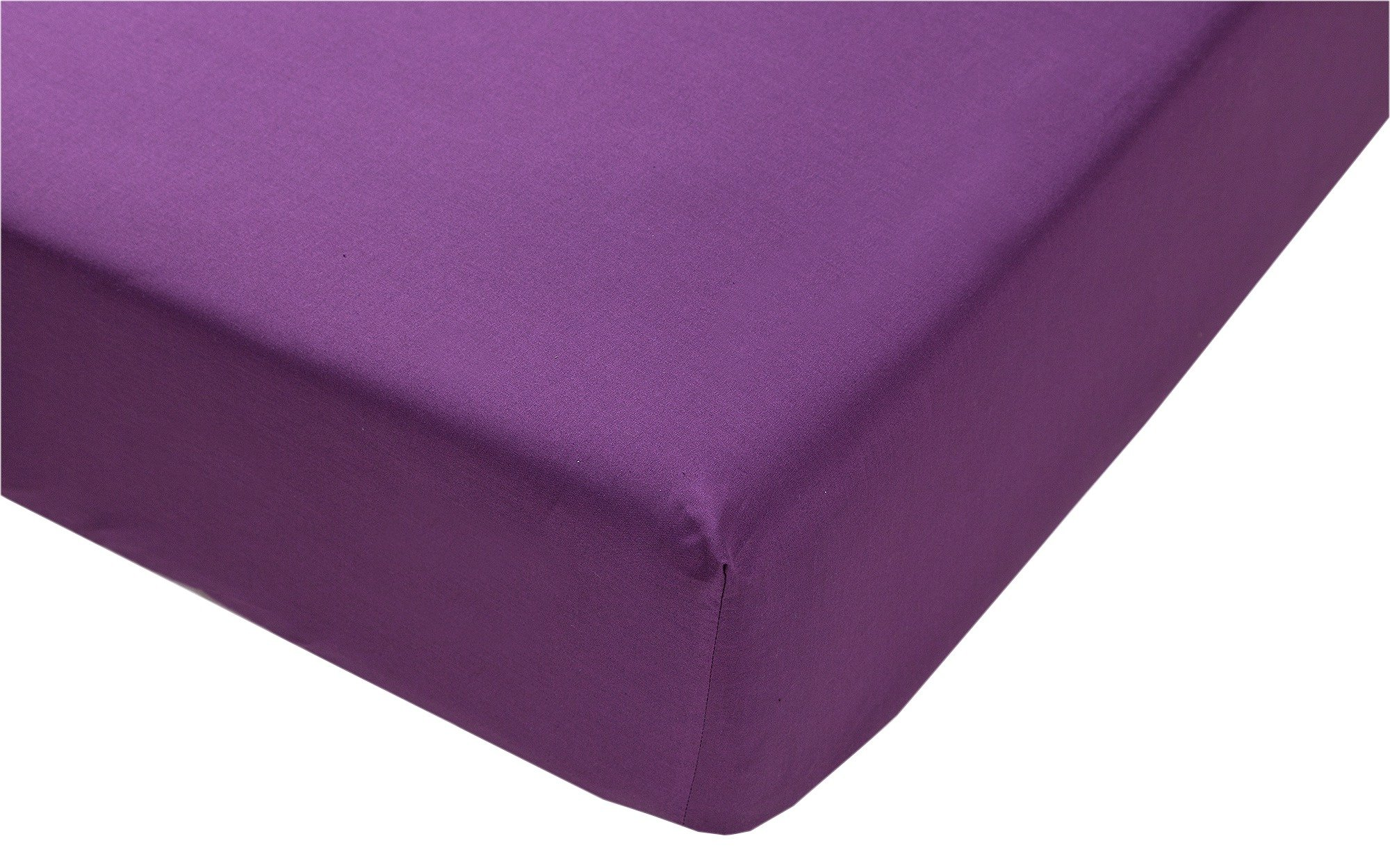 collection plum non iron fitted sheet  single