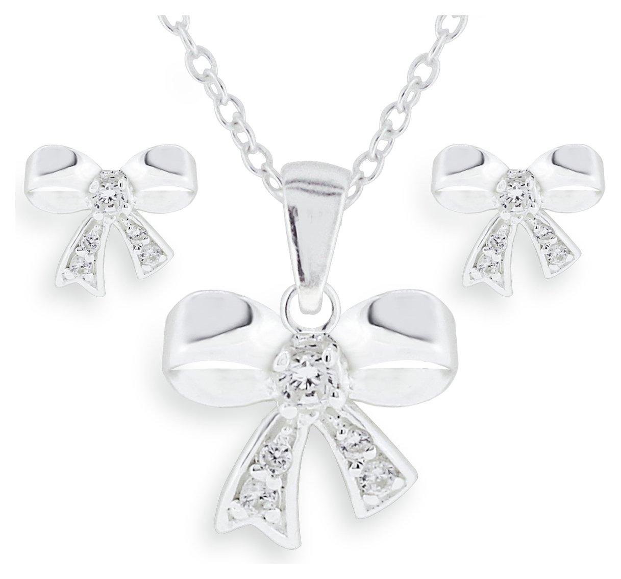 Image of Miss Glitter - Silver Kids Bow Pendant & Earring Set