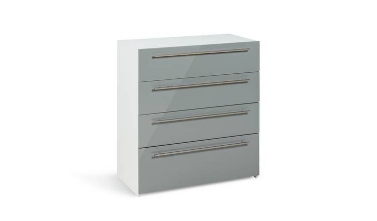 Argos Home Atlas 4 Drawer Chest - Grey Gloss