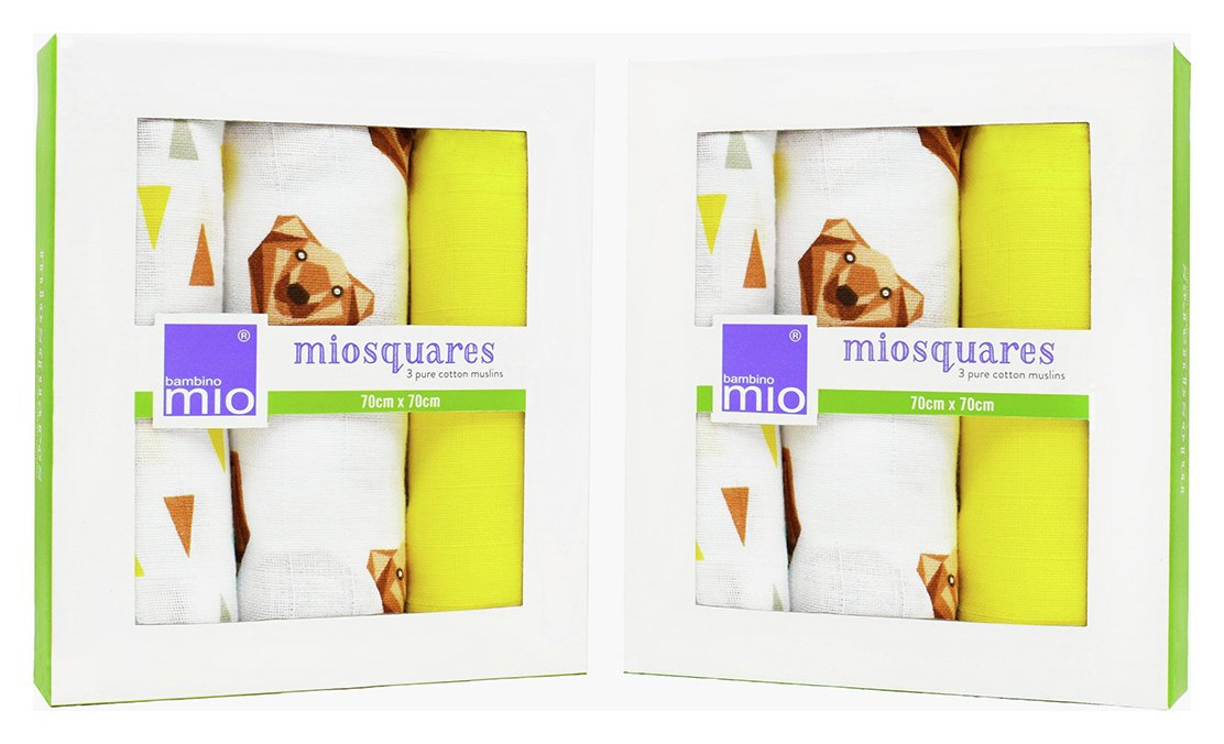 Image of Bambino Mio Muslin Squares Grizzly - 3 Pack x 2.