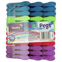 Minky - 36Pk Brite - Washing Line Pegs - Colourful Assortment
