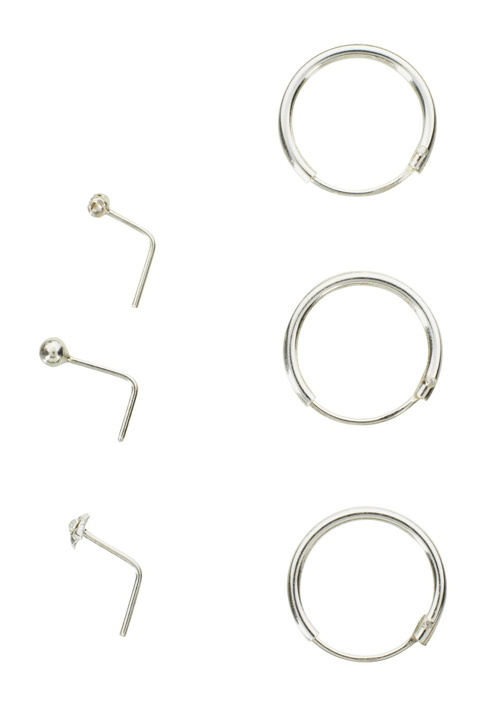 Buy State of Mine Sterling Silver Hoop and Nose Studs Set of 6