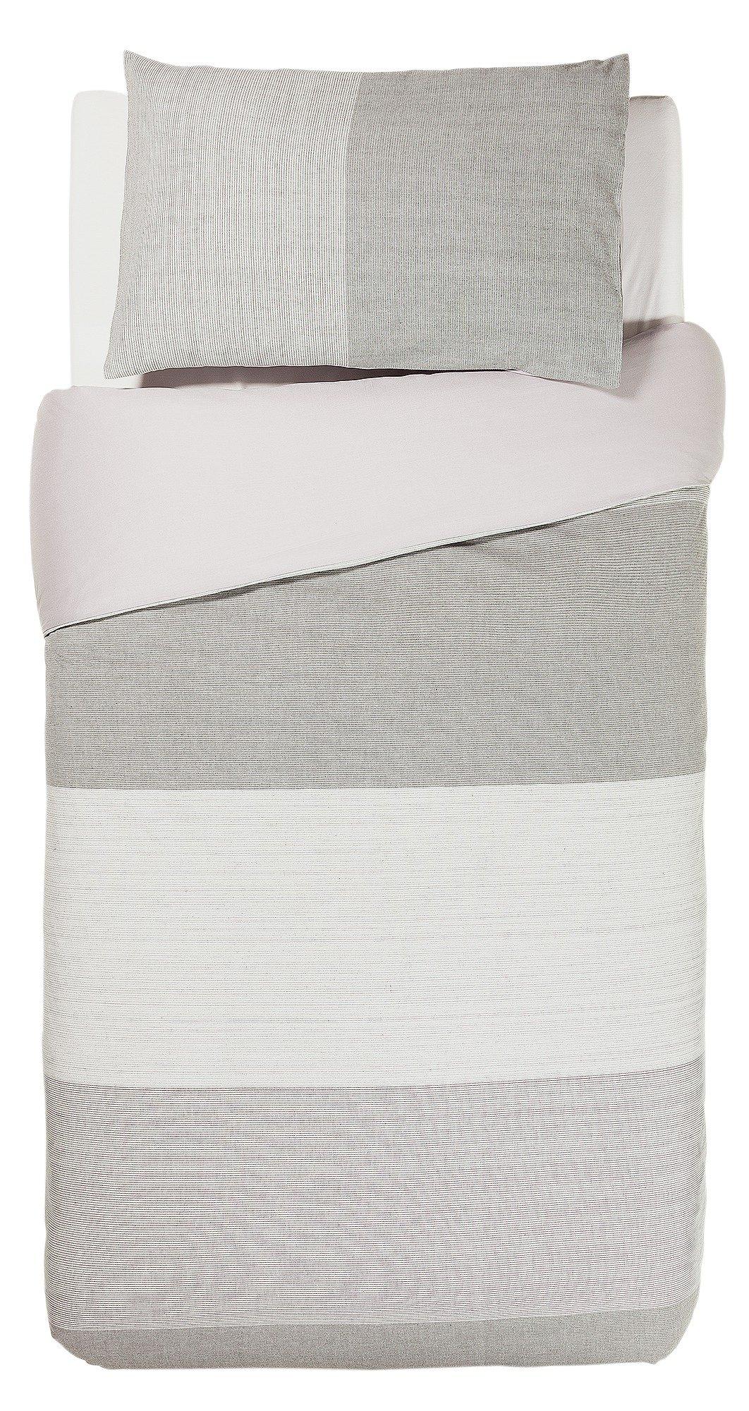 hygena grey mini stripe bedding set  single
