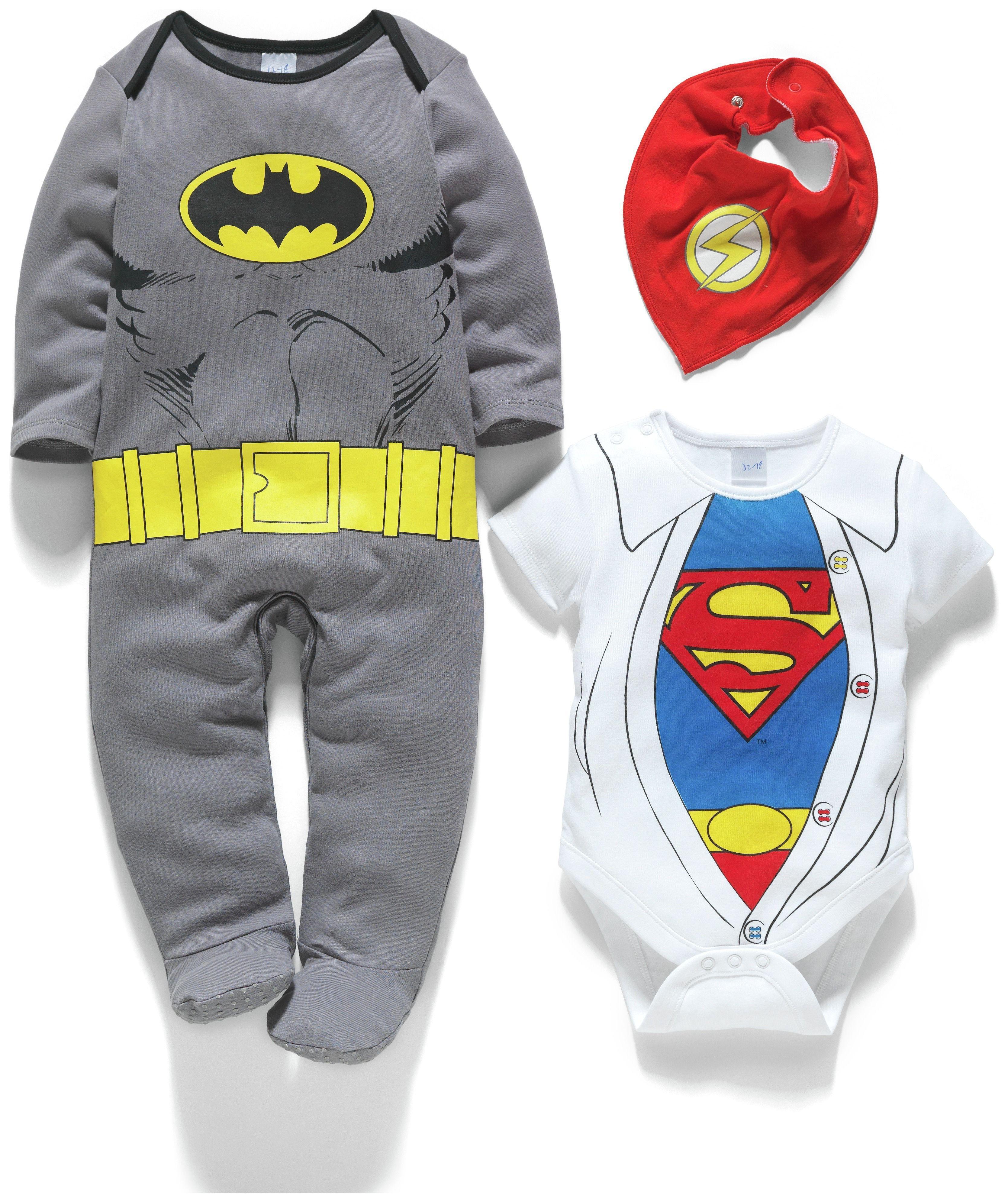 Image of Batman, Superman, Flash 3 Piece Baby Gift Set - 0-3 Months