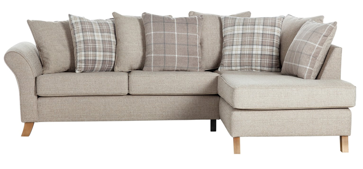 Argos Home Kayla Right Corner Scatter Back Sofa - Beige