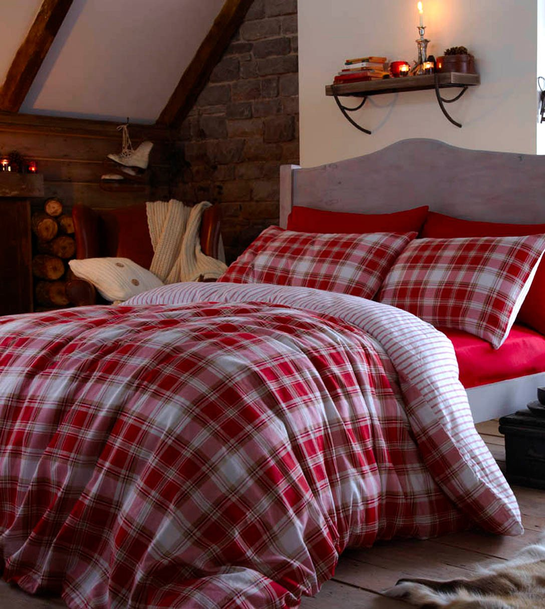 catherine lansfield housewife tartan pillowcases  red