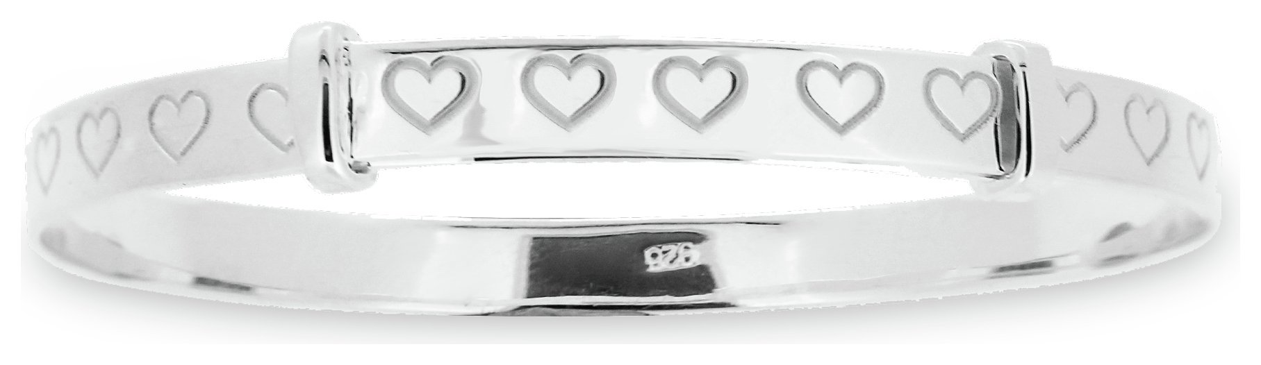Little Star - Sterling Silver Heart Bangle - 18 Months-3 Years