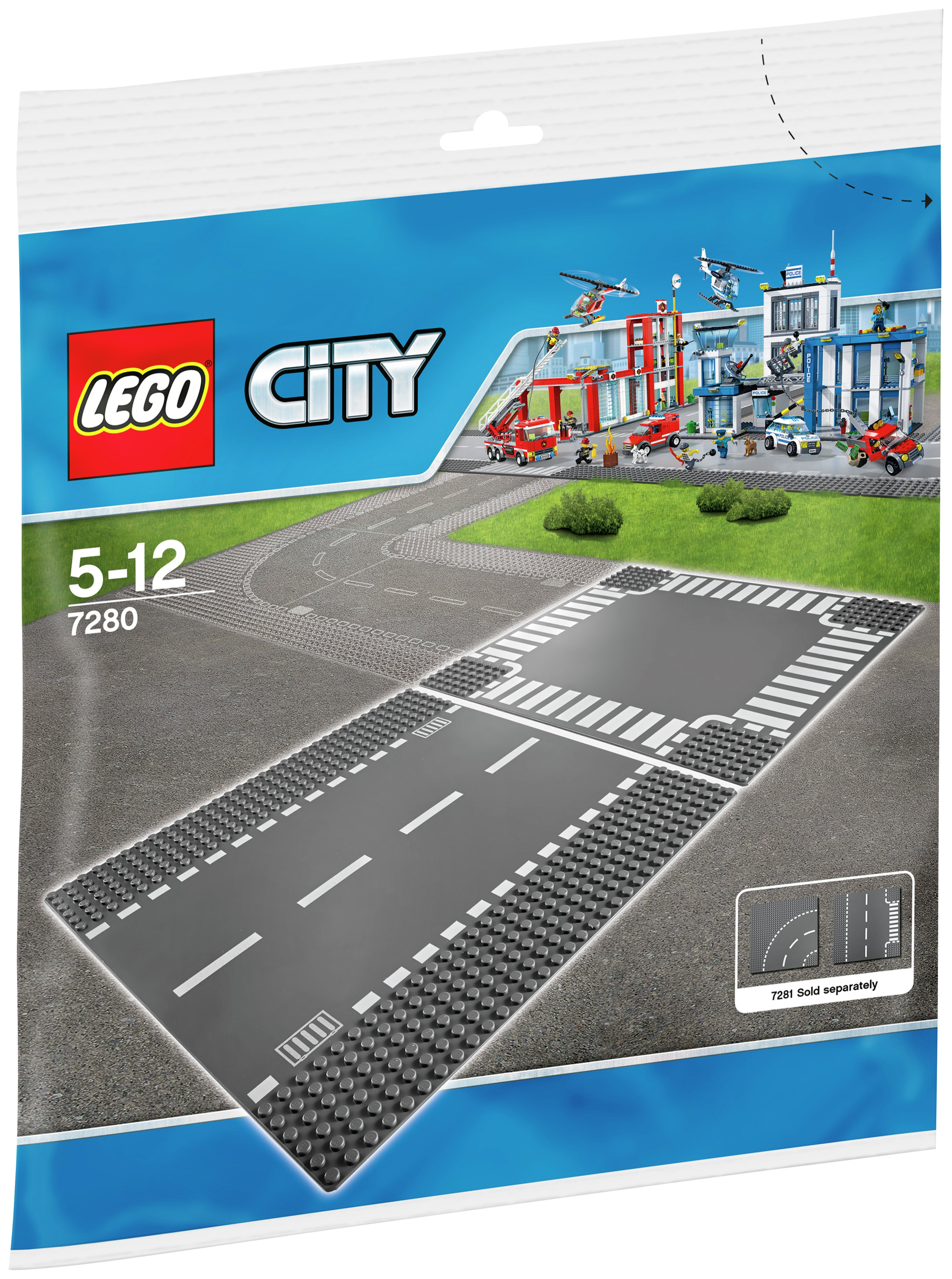 lego city straight and crossroad pieces  7280