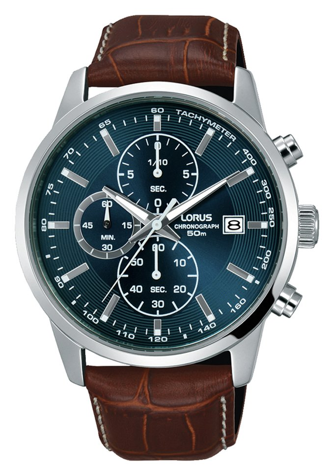 Lorus Men's Brown Leather Strap Chronograph Watch