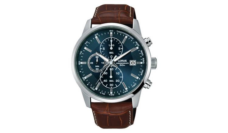 Lorus Men's Chronograph Brown Leather Strap Watch