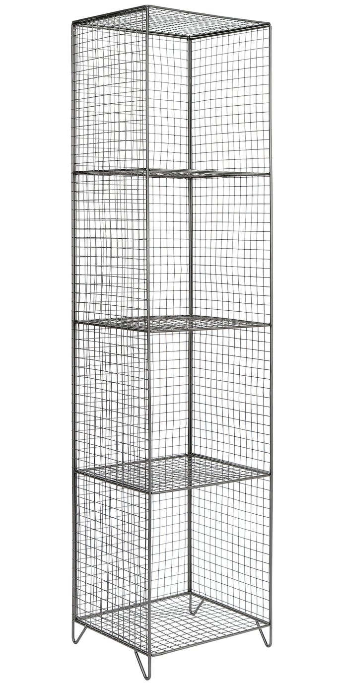 Image of Collection 4 Tier Metal Tall Storage Unit - Grey