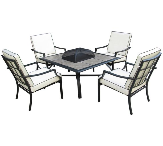 buy collection barcelona 4 seater fire pit table at argoscouk your online shop for garden table and chair sets garden furniture home and garden