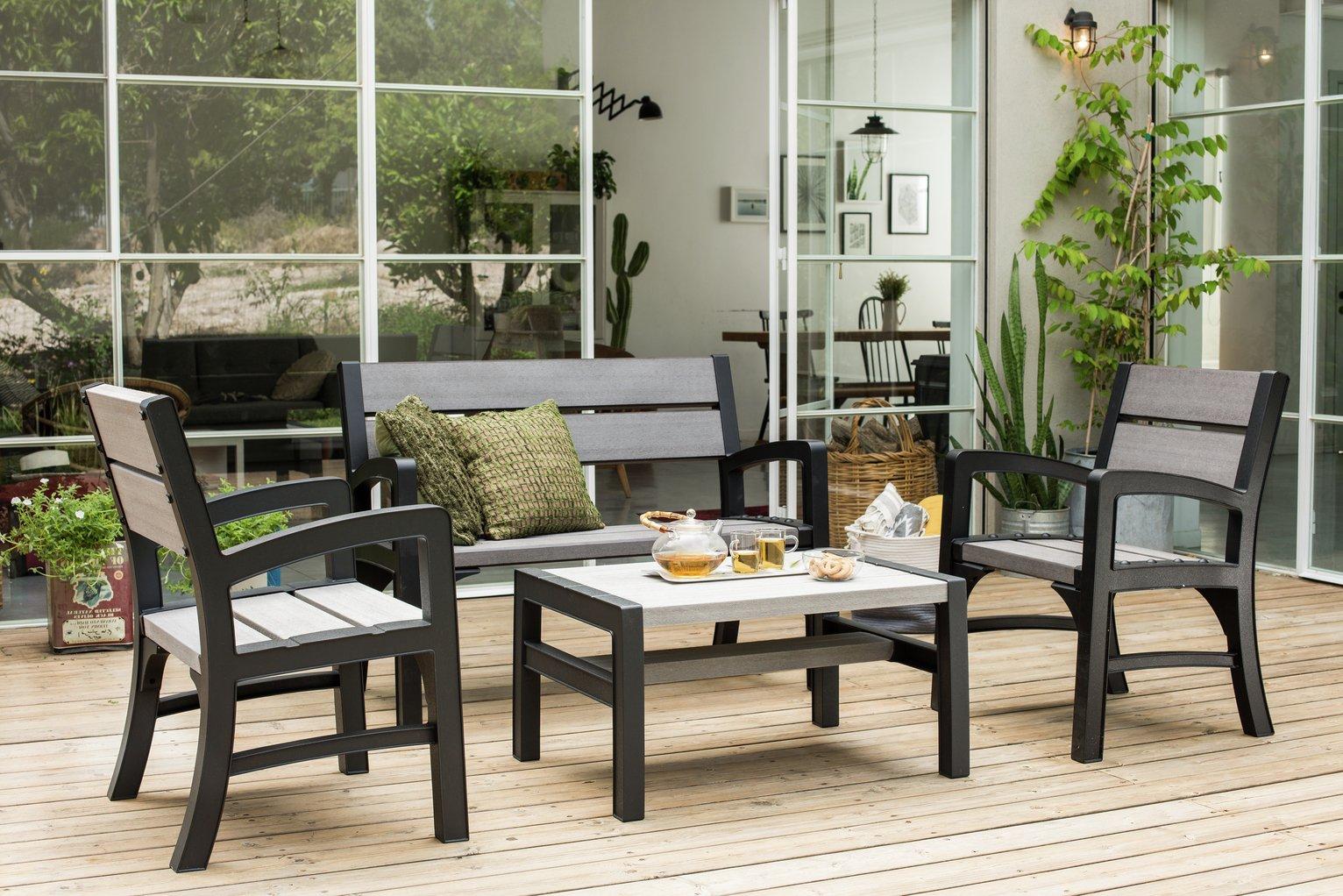 keter tuscany 4 seater wood effect garden lounge set. Black Bedroom Furniture Sets. Home Design Ideas