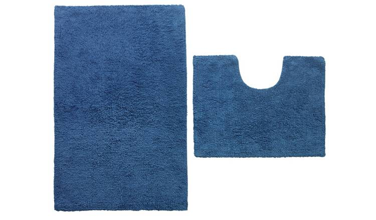 Argos Home Bath and Pedestal Mat Set - Ink Blue