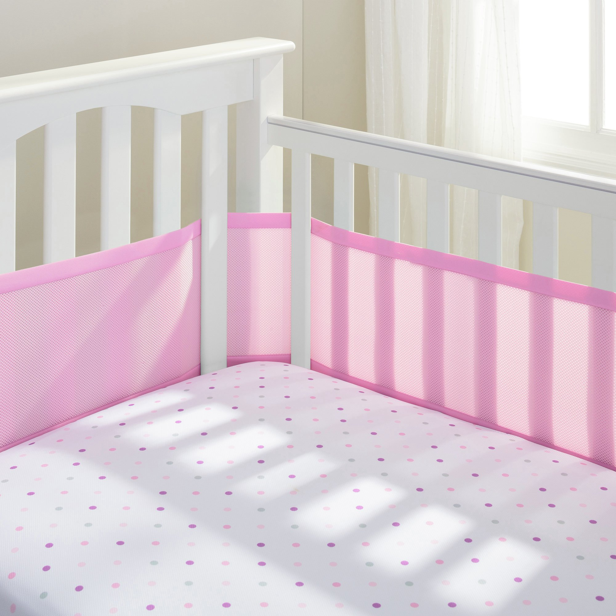 Image of BreathableBaby - 4 Sided - Cot Liner - Pink Mist
