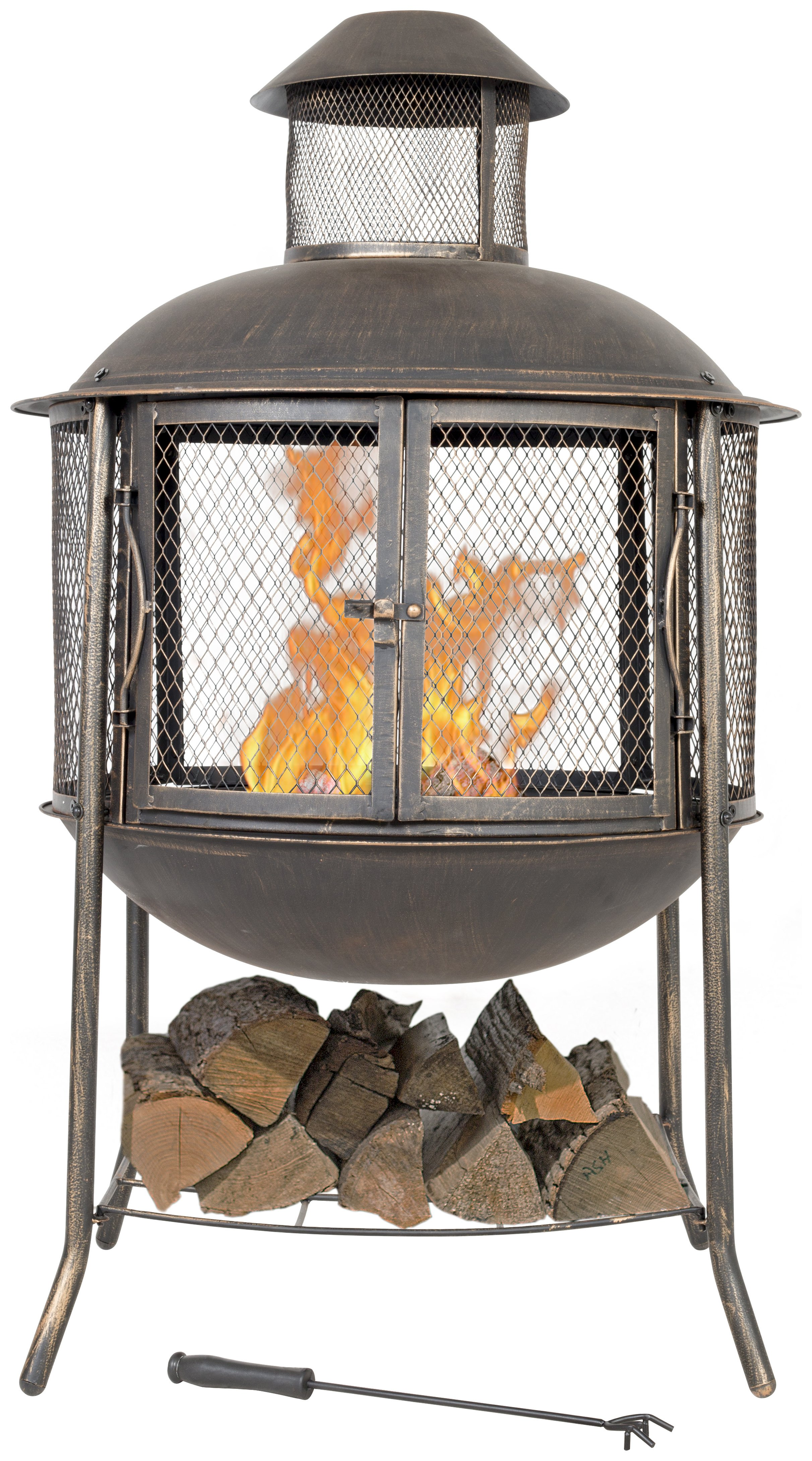Image of Contemporary Round Fireplace And Log Store